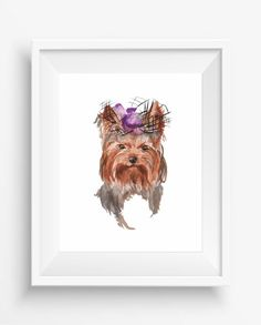 Cute Yorkshire Terrier breed dog ,Small dog print,Yorkshire wall art,Watercolor,digital prints,home decor,pet style