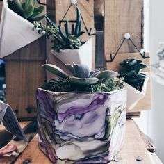 Alcohol Ink Ceramic Vessels & Planters - Modern Craft Collective