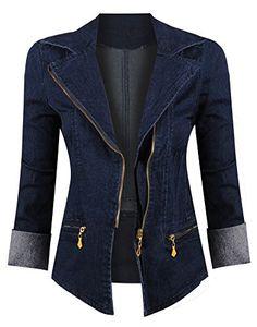 1207aee21e2 Hot From Hollywood Black & Gold Asymmetrical Denim Jacket - Women