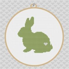 Rabbit Silhouette Cross Stitch PDF Pattern