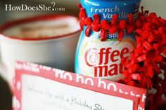 "Neighbor Gift Idea #4: ""Warm up with some Creamer for a Steamer!"" More #neighbor #giftideas on howdoesshe.com"