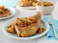 Costeletas de Porco Estilo Frango Frito e Chutney Com Pedaços de Pera - Food…