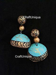 By jibina Like CraftUniqua on facebook for more collections Terracotta Jewellery Designs, Terracota Jewellery, Fashion Jewellery, Handmade Jewellery, Terracotta Earrings, Clay Jewelry, Turquoise Necklace, Studs, Jewelry Design