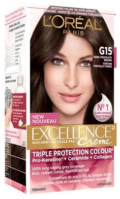 Shop L'OREAL : Excellence Crème - Coloration permanente 4 Châtain neuf from auchticorrezien in Hair care, available on Tictail from Safe Hair Color, At Home Hair Color, Hair Color For Women, Cool Hair Color, Hair Colors, Loreal Excellence, Best Hair Dye, Best Black Hair Dye, Hair Color Brands