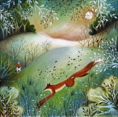 Amanda Clark- An open edition giclee print of one of my original paintings, titled The Nimble Fox. This reproduction is printed on heavy weight Epson Archival paper. Size with a white border for easy framing. Titled and signed by the artist. Woodland Art, Whimsical Art, Original Paintings, Original Art, Summer Scenes, Clark Art, Deer Art, Rabbit Art, Fairytale Art
