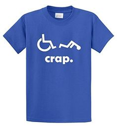 0086ba9f Comical Shirt Men's Crap Handicap Funny Wheelchair T Shirt Disabled Royal  Blue L