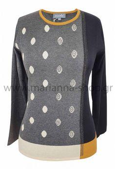 Μπλούζα γκρι βούλες Jumpers, Knitwear, Sweaters, Shopping, Fashion, Moda, Tricot, Fashion Styles, Jumper