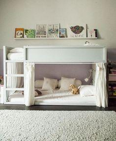 Kids room ideas for boys ikea kura bed hack Ideas Kids Room Bed, Kids Bunk Beds, Girl Room, Ikea Kura Hack, Ikea Kura Bed, Ikea Hacks, Ikea Curtains, Baby Bedroom, Kids Bedroom