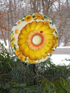 Garden Art Sun Catcher Glass Plate Flower Garden by GlassBlooms, $22.00