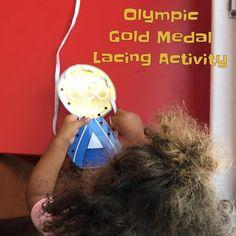 Olympic Gold Medal Lacing Card (printable from Activity Village; via Happy Toddler Playtime on Instagram: https://www.instagram.com/p/BI8lPBdggRg/?taken-by=happytoddlerplaytime)