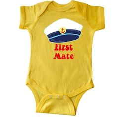 Inktastic First Mate Boy Infant Creeper Baby Bodysuit Sailor Anchor Gift One-piece, Size: 18 Months, Yellow