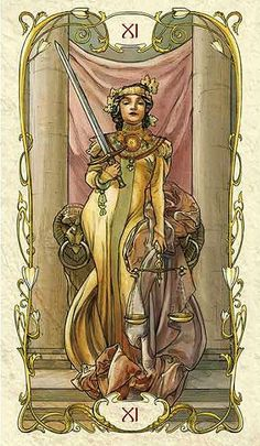 Tarot- Homage to A.Mucha-- Justice