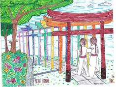 "Nezu Shrine from ""Colorful Tokyo - Explore & Color"". Colored by Tomoka!"