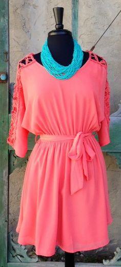 Coral Dress W Crochet Detail $44