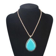 2015 Women Gold Plated Multi Strand Turquoise Necklace Colares E Correntes Feminino Water Drop Pendant Necklace Jewelery Zora