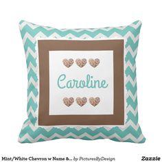 Mint/White Chevron w Name & Giraffe Hearts! Throw Pillow