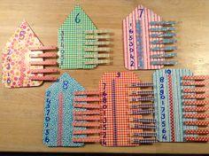 Rekenen groep 3...... Een voorbeeld van pinterest...mijn eigen draai aan gegeven. Zelfcorrigerend, knijphuisjes om het splitsen te oefenen