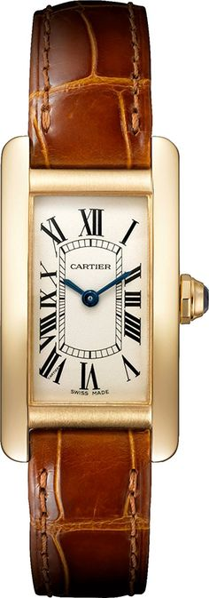 Cartier Tank Americaine 18kt Yellow Gold Ladies Watch W2601556 ** Check out this great watch.