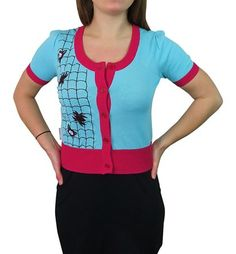 Every web-slinging lady needs the Spider Gwen Women& Vintage Cardigan! Fun, flirty, cute and perfect for any spidery gal pal who loves fashion. Check it out! Love Fashion, Vintage Fashion, Fashion Check, Bolero Sweater, Spider Gwen, Perfect Gift For Him, Gal Pal, Vintage Ladies, Lady