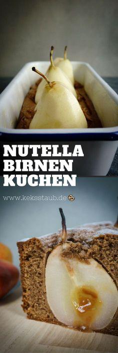 Rezept zum Backen für einen leckeren Nutella Birnen Kuchen. Schnell, einfach und richtig lecker. - Anleitung mit und ohne Thermomix auf www.keksstaub.de #Backen #Nutella #Kastenkuchen