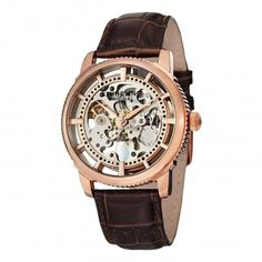 Stuhrling Original 393.3345K14 Winchester Brown Automatic Skeleton Watch For Men