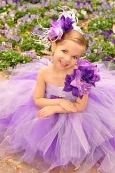 purple flower girl tutu