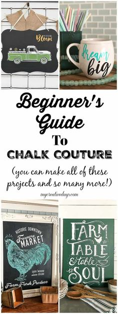 What Is Chalk Couture? A Beginner's Guide You have heard a lot about Chalk Couture, but what is it? Click over to find a beginner's guide to Chalk Couture that will explain what all the hype is about this amazing craft line. Chalk Crafts, Crafts To Do, Easy Diy Crafts, Arts And Crafts, Chalk Ink, Chalk It Up, Chalk Board, Chalk Design, Chalkboard Art