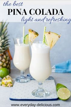 The best Pina Colada recipe. Is not overly sweet, refreshing and tastes distictly like coconut and pineapple. We love it and I could drink it all summer long! #pinacolada #drink #summerdrink #pineapple #coconut Bebida Pina Colada, Pina Colada Sem Alcool, Beach Drinks, Fancy Drinks, Summer Drinks, Cocktail Drinks, Cocktail Recipes, Mexican Cocktails, Alcoholic Drink Recipes