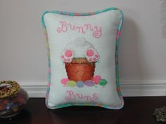 Just the cutest bunny pillow finished for Stitch & Frame Shop