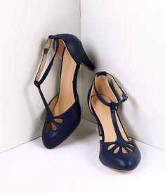a56a6b334906 Navy Blue Pleather Cutout Kimmy T-Strap Heels. BELLE CHAUSSUREChaussures  FemmeTalons ...