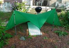 "If you are bored of the A-frame and pyramid pitches, then gather round and let me tell you about flat tarps. They can be pitched in many different ""shapes. Best Camping Hammock, Rv Camping Tips, Kayak Camping, Hiking Tips, Hiking Gear, Outdoor Camping, Outdoor Gear, Backpacking Meals, Ultralight Backpacking"
