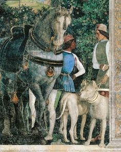 Horse, mastiffs and grooms of Count Ludovico Gonzaga, detail from Wall of Meeting, 1465-1474, by Andrea Mantegna (1431-1606), fresco, Castello di San Giorgio, Wedding Chamber or Picta House, Mantua