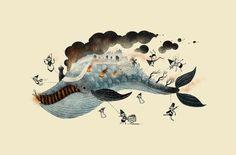 The Marvelous Fish Whale - Print by Scott Benson