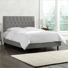 Skyline Furniture Tufted Bed in Gray-King - Walmart.com