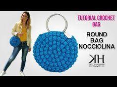 TUTORIAL BORSE UNCINETTO - Round Bag Nocciolina Crochet ♡ Katy Handmade - YouTube Crochet Wallet, Crochet Clutch, Crochet Handbags, Crochet Purses, Crochet Beanie, Crochet Hats, Crochet Bag Tutorials, Crochet Diy, Crochet Round