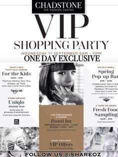 [專屬 VIP 時尚購物中心狂歡 1DAY]  奢華時尚 #Chadstone The Fashion Capital  #VIPShoppingParty @ 17 Sept 9:00 - 23:00 精緻糕點邊逛邊饗、居酒屋 #Beer #HAPPY HOUR,韓國歌手 @Dami Ni 獨家演唱... 而VIP購物節,不能錯過的就是超越周年慶的超級優惠!!   衝吧-》明日節目 #ShopaholicDay www.chadstone.com.au/SeptemberVIP