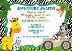 Safari Birthday Invite with Mickey or Minnie by ckfireboots, $10.00
