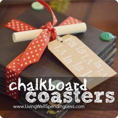 DiY Chalkboard Coasters--super cute handmade gift idea!  #homemade #gift #ideas