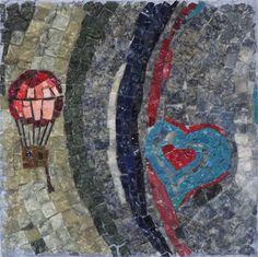 Titolo ''La passione non ha limiti'' mosaico in marmi,smalti filati e smalti di Murano misura 20x20 Anno 2017 n108
