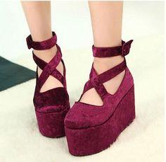 Womens Goth Ankle Cross Strap Flat Platform Wedge Heels Velvet Bootie Zip Shoes