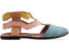 New Kid Elma Encircle in Aqua Tan at Solestruck.com-flat sandal? make it fun!