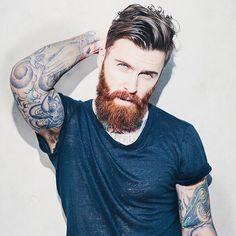 Levi Stocke - dark red beard and mustache beards bearded man men mens' style bearding tattoos tattooed auburn ginger #beardsforever