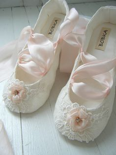 Desiree Ballet Shoes Ivory Lace Blush Pink Slipper by BobkaBaby Flower Girl Shoes, Girls Dress Shoes, Lace Flower Girls, Baby Girl Shoes, Little Girl Dresses, Flower Girl Dresses, Princess Dress Up, Pink Slippers, Bridesmaid Flowers