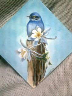 Blue bird. acrilic paint my mom would love this !