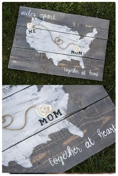 Does mama live too far? Show her your love with this personalized pallet wood sign is the perfect gift to any long distance moms! Select each state, and city and we will place a wood flower on each location. Wood Pallet Signs, Pallet Art, Wood Signs, Diy Craft Projects, Diy And Crafts, Projects To Try, Belleza Diy, Going Away Parties, Barn Wood Crafts