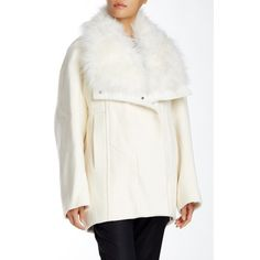 Helmut Lang Genuine Goat Fur Trim Wool Blend Coat ($600) ❤ liked on Polyvore featuring outerwear, coats, winter white, white coat, fur trimmed coat, white winter coat, helmut lang and fur-lined coats