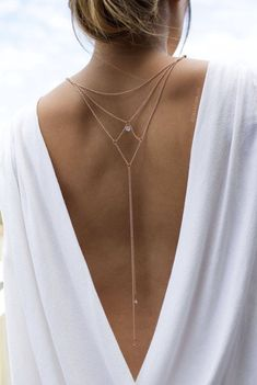 Schmuck & Accessoires & Sonstiges Moon & Stars Back Necklace Rose Gold Buying Baby Clothes At Back Jewelry, Cute Jewelry, Silver Jewelry, Silver Ring, Back Necklace, Bridal Necklace, Garnet Necklace, Pearl Necklace, Jóias Body Chains
