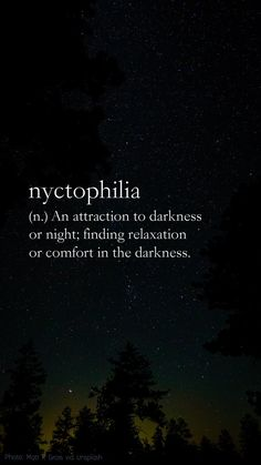 Nyctophilia definition: (n.) An attraction to darkness or night; finding relaxation or comfort in the darkness. (photo: Matt K. Gross via Unsplash) Unusual Words, Weird Words, Rare Words, Unique Words, Cool Words, Night Quotes Thoughts, Mood Quotes, Dark Thoughts, Quotes About Night
