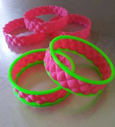 Two-color fluorescent bump bangle bracelets courtesy @Makerbot and the next revolution