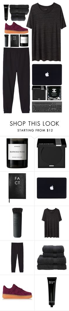 """Black beauty."" by ericano ❤ liked on Polyvore featuring Byredo, MAKE UP FOR EVER, Sloane Stationery, NARS Cosmetics, Chanel, Isabel Marant, adidas Originals, Christy, NIKE and Bobbi Brown Cosmetics"